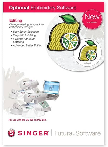 Singer Editing Embroidery Software for Futura CE-150 & CE-250